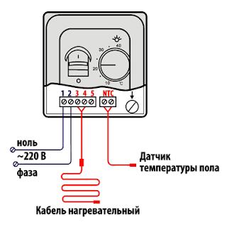 схема подключения типичного терморегулятора для теплого пола