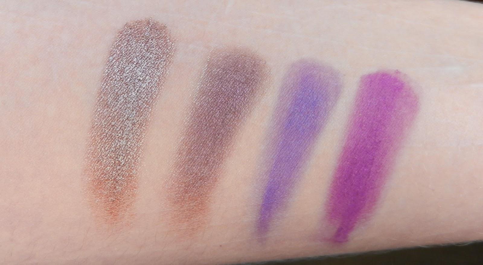 Natasha Denona Palette 28 Blue 49M Vintage, 23P Smoky Plum, 28V Electric Violet, 82V Nina's Orchid