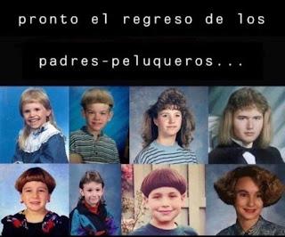 Varios niños con corte de pelo extraños