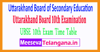 Uttarakhand Board of Secondary Education 10th Exam Time Table