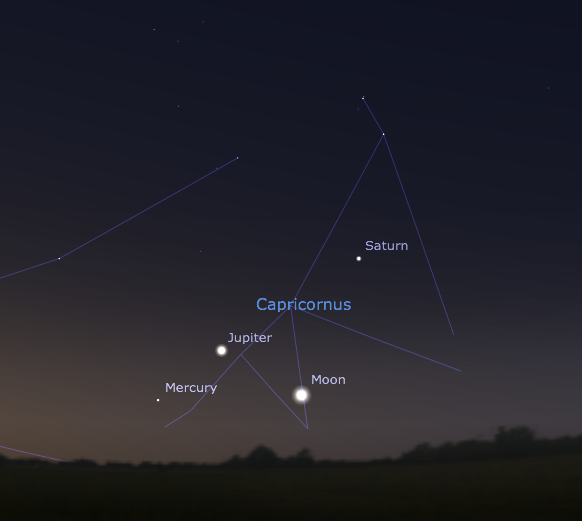 Planetary group of Saturn, Jupiter, Mercury, and the Moon in the south-eastern sky on March 10th around 5:40 am MST. Graphic created from Stellarium.