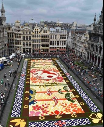 Japan-Belgium 150 Years Friendship,Hanami,tapis, bloemen, carpet, tapea,