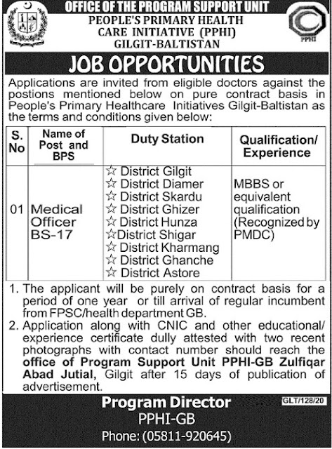 Job Opportunities Peoples Primary Health Care Initiative Gilgit Baltistant, PPHI