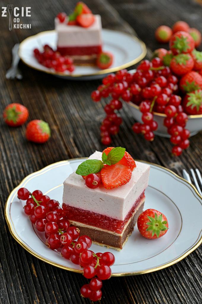 ciasto bez pieczenia, ciasto z masa grysikowa, ciasto wielowarstwowe, ciasto z owocami