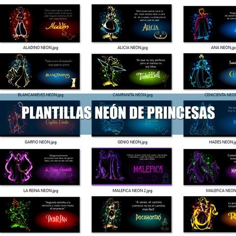 Plantillas para Sublimar de Princesas Neón.
