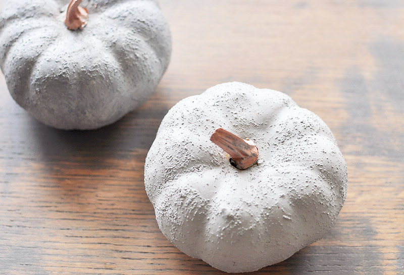 DIY cement pumpkin with paint