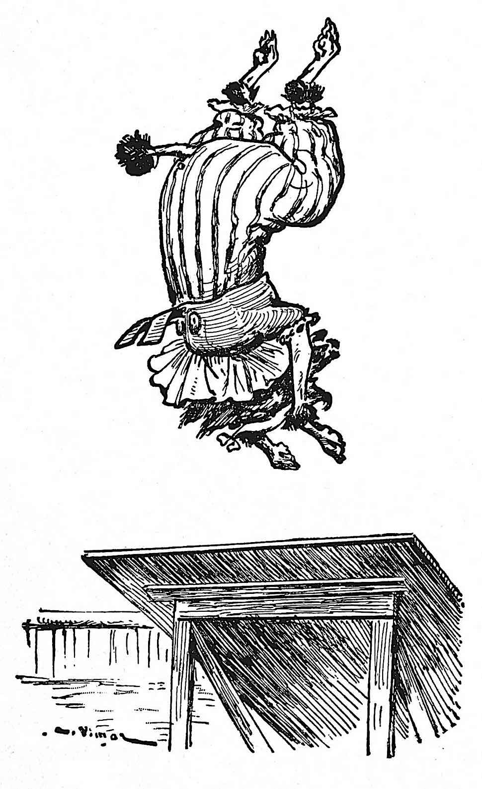 an illustration by Auguste Vimar, a circus dog tumbler