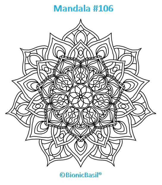 Mandalas on Monday ©BionicBasil® Colouring With Cats #106 Downloadable Image