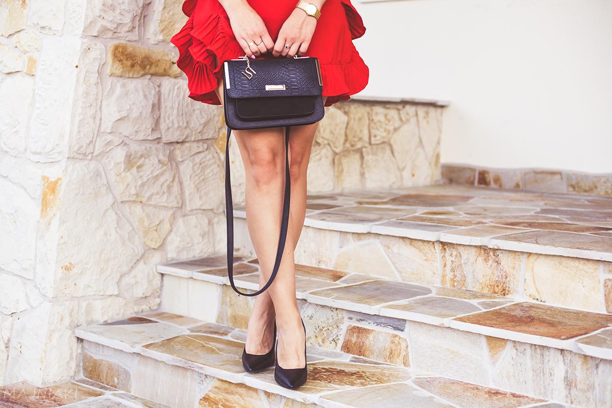 Red Frill Mini Dress and Heels