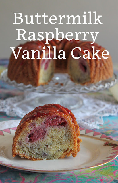 FoodLustPeopleLove: The tender vanilla crumb surrounds sweet raspberries for a little slice of summer berry heaven in this delectable buttermilk raspberry vanilla Bundt cake. If fresh raspberries aren't available where you live, you can use frozen ones or feel free to substitute your favorite summer berry.