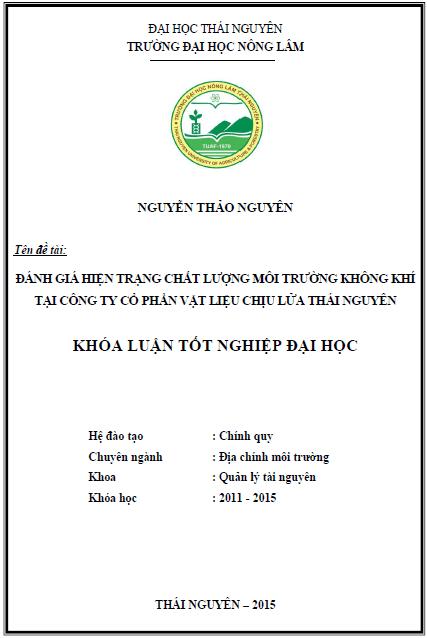 Đánh giá hiện trạng chất lượng môi trường không khí tại Công ty cổ phần vật liệu chịu lửa Thái Nguyên