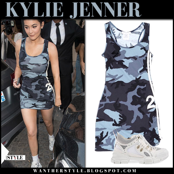 b9e8e727e28 Kylie Jenner in grey camo mini dress and sneakers gucci flashtreck street  fashion july 21