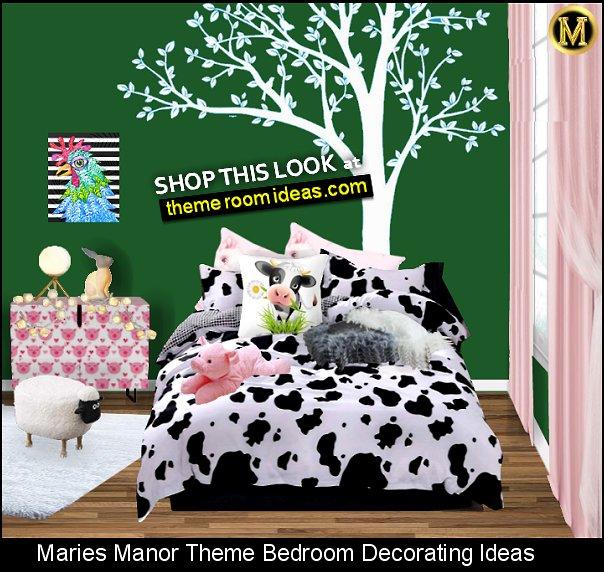 cow print bedroom pink pig decor sheep ottoman chicken wall art farm animals bedroom decor