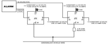Ford Probe Single Wire Door Lock/Unlock Alarm System Circuit Schematic