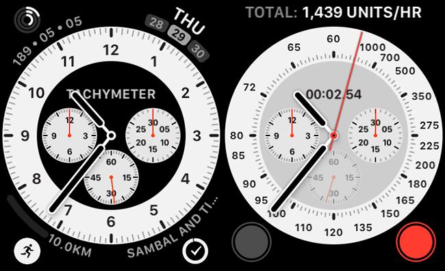 وجه ساعة كرونوغراف برو مزود بمضاعفات مقياس سرعة الدوران.