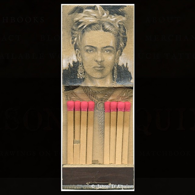 01-Fridah-Kahlo-Jason-D-Aquino-Miniature-Vintage-Match-Book-Drawings-www-designstack-co