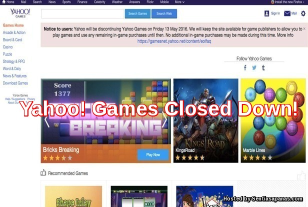 Yahoo! Games Closed Down