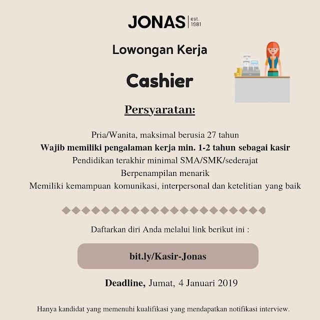 lowongan kerja cashier JONAS Bandung