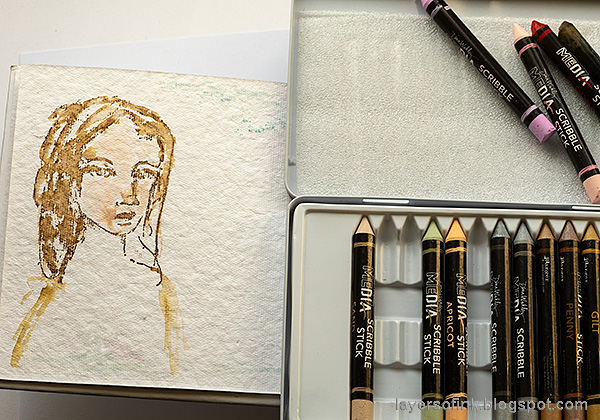 Layers of ink - Pastel Journal Page Tutorial by Anna-Karin Evaldsson. Watercolor the woman.