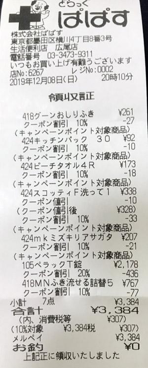どらっぐぱぱす 広尾店 2019/12/8 のレシート