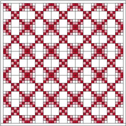 quiltpatroon ninepatch meerdere kleuren