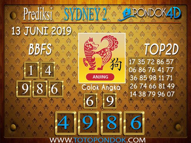 Prediksi Togel SYDNEY 2 PONDOK4D 13 JUNI 2019