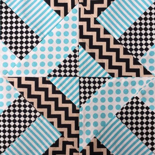 Doubly Striped Half Square Triangle Block - Tutorial