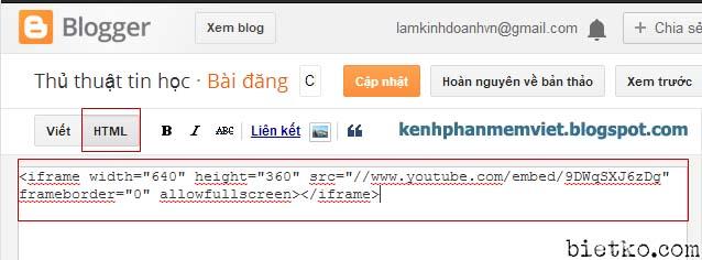 Chèn code ở khung soạn thảo html