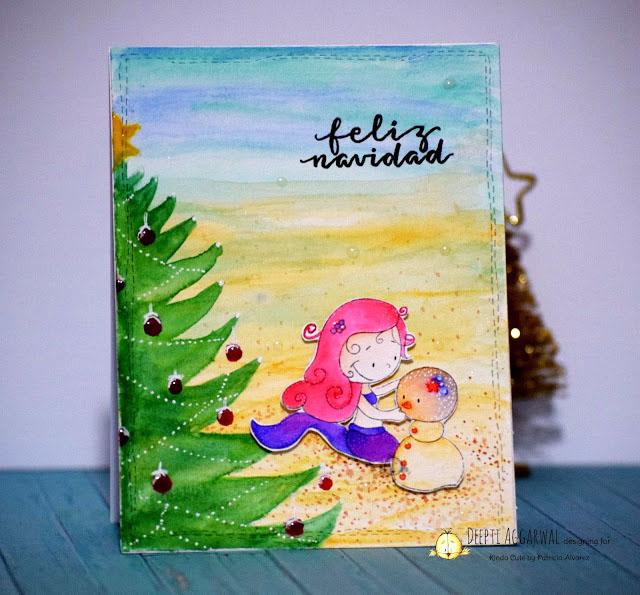 Tarjeta de navidad con una sirena.