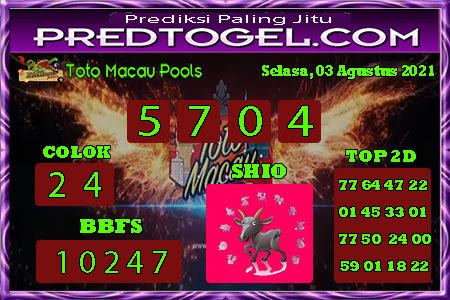 Pred Macau Selasa 03 Agustus 2021