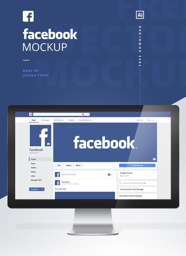 Mockup terbaru 2017 gratis - Free Facebook Mockup PSD Template