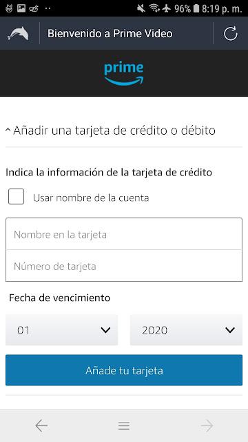 formulario de amazon prime video tarjeta de credito