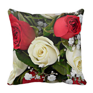 Red and white roses petals throw pillow