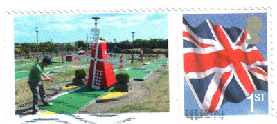 A minigolf stamp from the Arnold Palmer Putting Course in Skegness