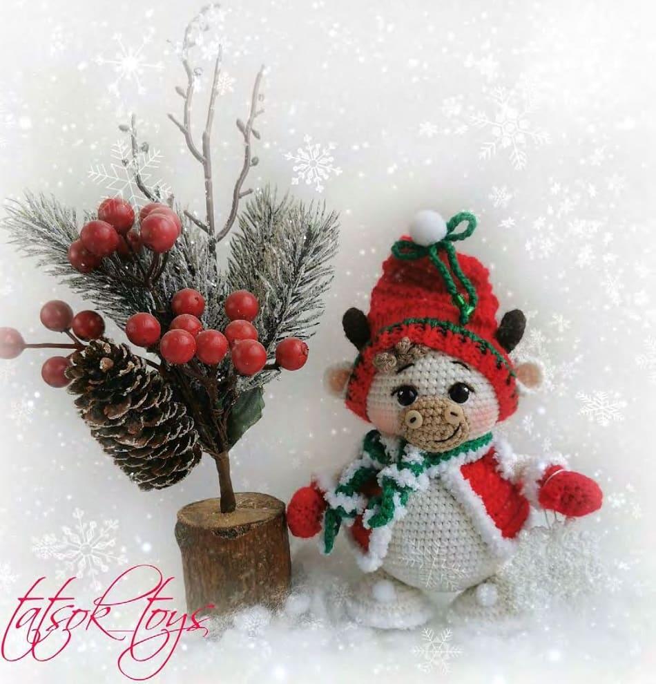 Вязаный снегобык амигуруми