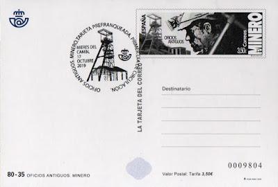 Tarjeta prefranqueada de Oficios Antiguos, Minero