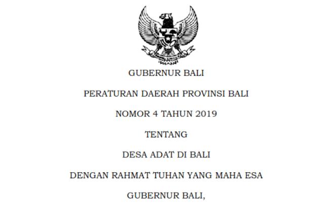 Peraturan Daerah Bali Nomor 4 Tahun 2019 Tentang Desa Adat