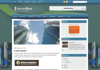 ServerBase blogger template. template blogspot magazine style. download white background blogger template