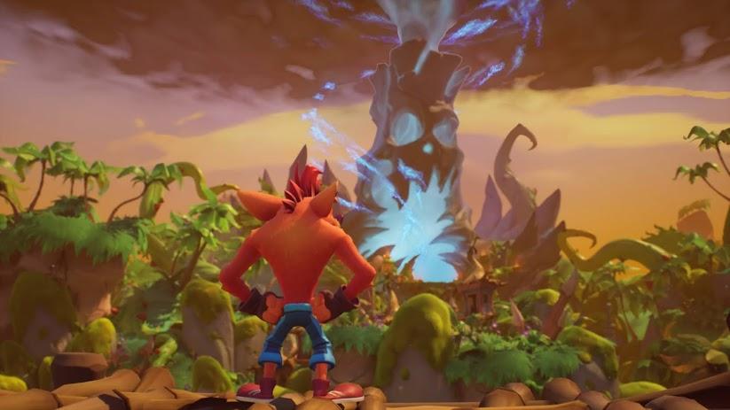 Crash Bandicoot 4 game in a colorful scene