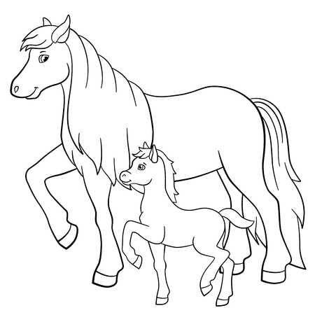 Tranh tô màu hai mẹ con ngựa đi dạo