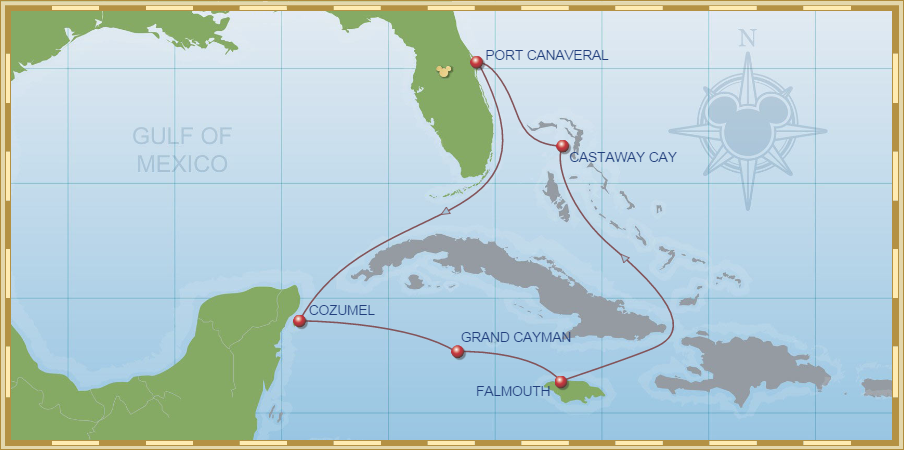 Map of Disney Magic Cruise
