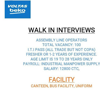 ITI Pass All Trade Jobs Vacancy in Voltas Be-ko Home Appliances Ltd. Sanand, Ahmedabad