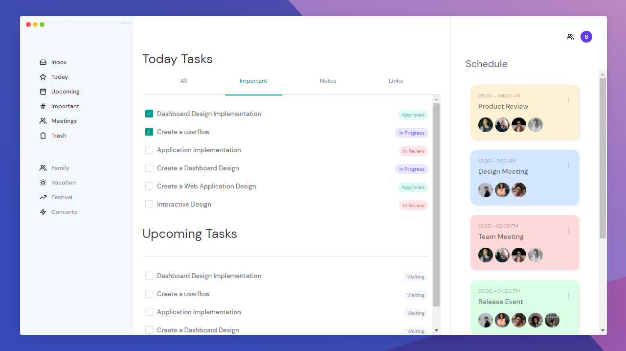 Responsive Task Management Dashboard using HTML and CSS | Dashboard Design