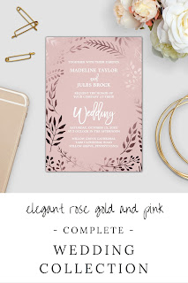 Elegant rose gold and pink wedding invitation suite featuring a stunning faux rose gold foil leafy frame on a blush pink background and is paired with a dazzling cursive font. This metallic wedding collection includes all of the essentials, and more! Invitations, envelopes, stamps, labels, belly bands, five RSVP options, enclosure cards, save the date, thank you cards, bridal shower and party invites, and also, all of the paper for your ceremony and reception.