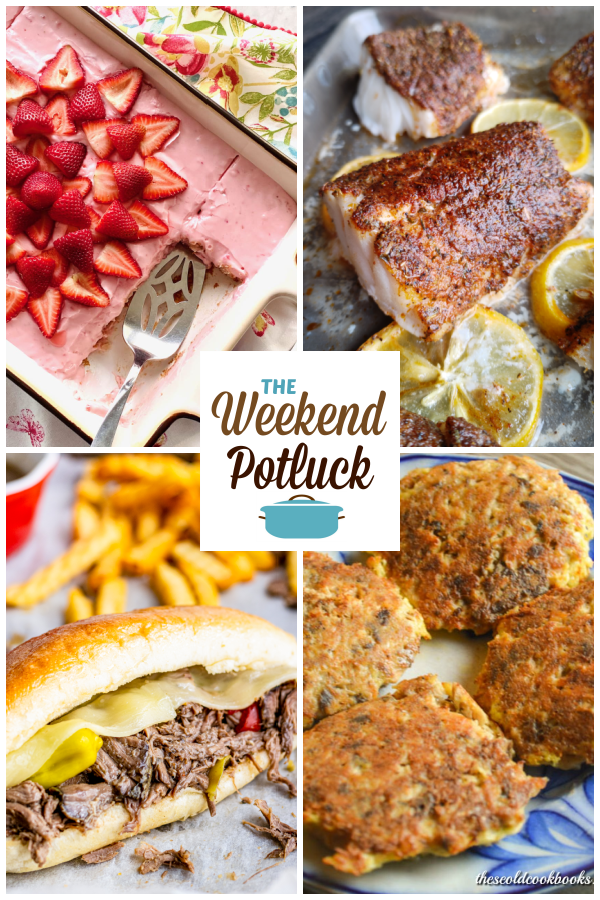 A virtual recipe swap with Vintage Strawberry Cake, Baked Blackened Cod, Slow Cooker Italian Beef Sandwiches, Low Carb Salmon Patties and dozens more!