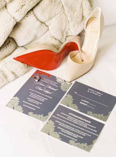 Wedding stationery, shoes, and jewelry for Jenna's Willow Ridge Country Club Wedding | Karen Hill Photography
