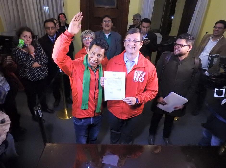 con la jurisprudencia del caso Paz Zamora, el binomio Ortiz - Rodríguez está obligado a participar en los comicios de octubre por el carácter vinculante de las elecciones primarias / FACEBOOK BOLIVIA  DICE NO