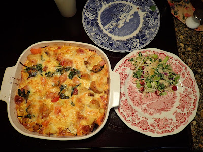 Cheese Melted Frittata with Blue and Pink Plates