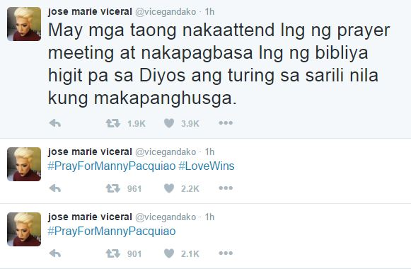 Vice Ganda used Twitter to react to Manny Pacquiao's opinion about the same s*x marriage!