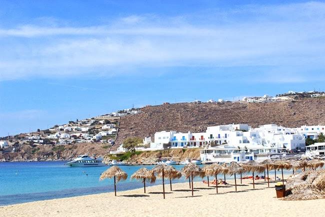 sandy Platis Gialos beach in Mykonos island Cyclades